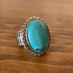 Jewelry - Turquoise Stone Ring With Stretchy Band